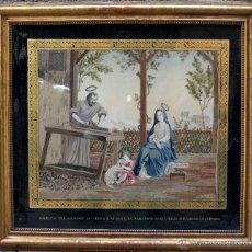 Arte: BORDADO ENMARCADO AÑO 1872, 55X46 CM. CON MARCO DORADO 84X77 CM.. Lote 51923149