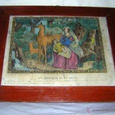 Arte: LITOGRAFÍA COLOREADA DE SANTA GENOVEVA EN LA SELVA, S XIX. Lote 52002998