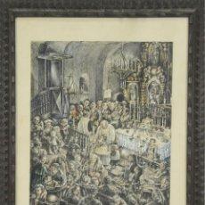 Arte: B3-074. CELEBRACION RELIGIOSA. DIBUJO AL PASTEL CON ACUARELA. VILANOVA. 1937-1939.. Lote 52135100