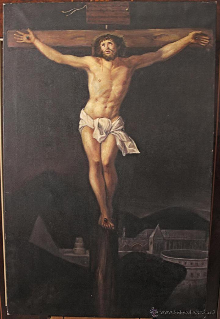 MAGNÍFICA PINTURA CRISTO CRUCIFICADO (Arte - Arte Religioso - Pintura Religiosa - Oleo)