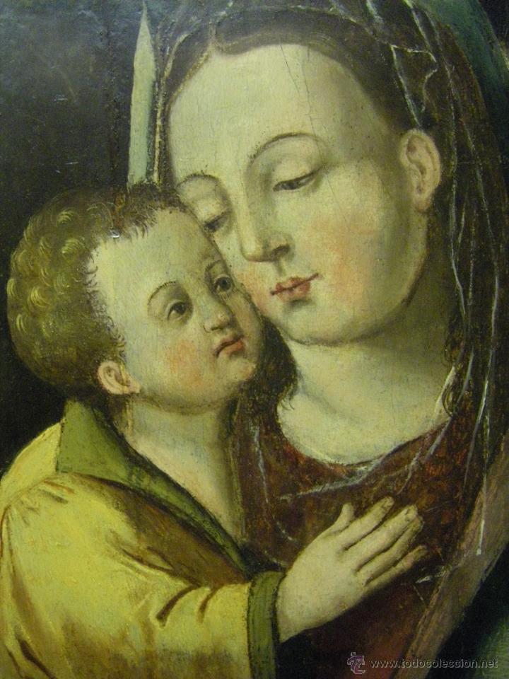 Arte: óleo en tabla Virgen María con el niño Jesús, pintura de campaña siglo XV - XVI - Foto 3 - 52490152