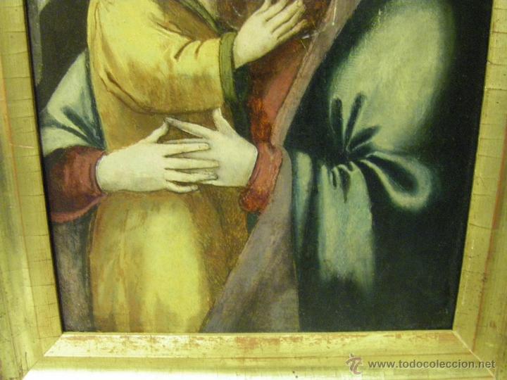 Arte: óleo en tabla Virgen María con el niño Jesús, pintura de campaña siglo XV - XVI - Foto 4 - 52490152