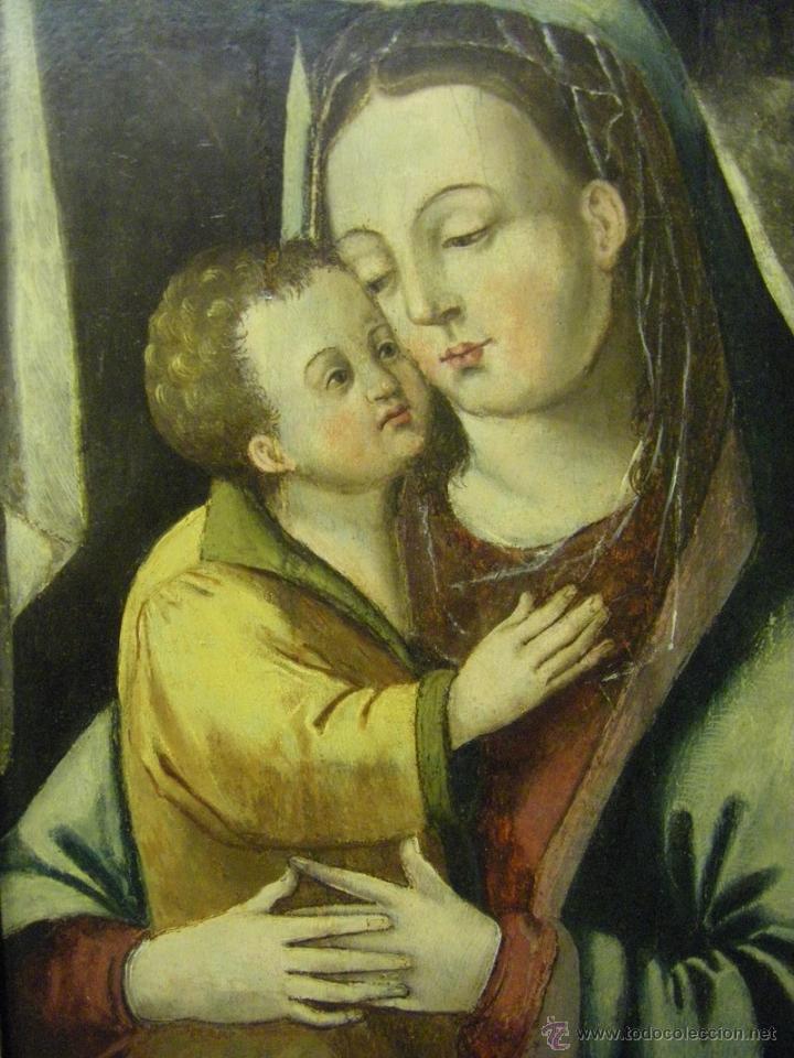 Arte: óleo en tabla Virgen María con el niño Jesús, pintura de campaña siglo XV - XVI - Foto 5 - 52490152