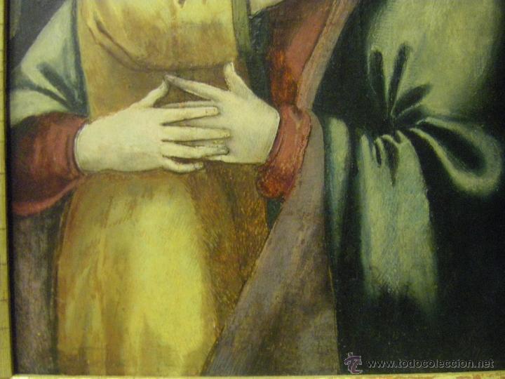 Arte: óleo en tabla Virgen María con el niño Jesús, pintura de campaña siglo XV - XVI - Foto 6 - 52490152