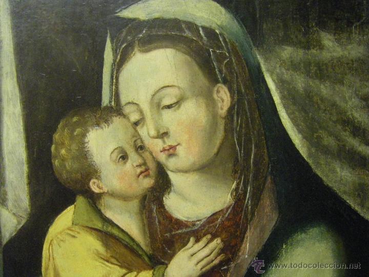 Arte: óleo en tabla Virgen María con el niño Jesús, pintura de campaña siglo XV - XVI - Foto 8 - 52490152