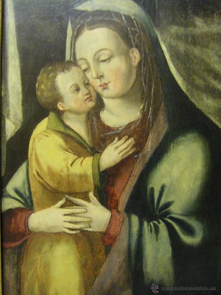Arte: óleo en tabla Virgen María con el niño Jesús, pintura de campaña siglo XV - XVI - Foto 9 - 52490152