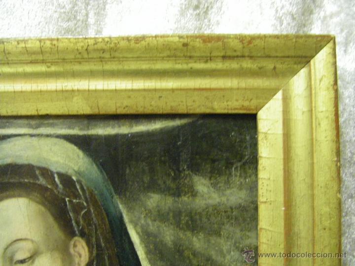 Arte: óleo en tabla Virgen María con el niño Jesús, pintura de campaña siglo XV - XVI - Foto 10 - 52490152
