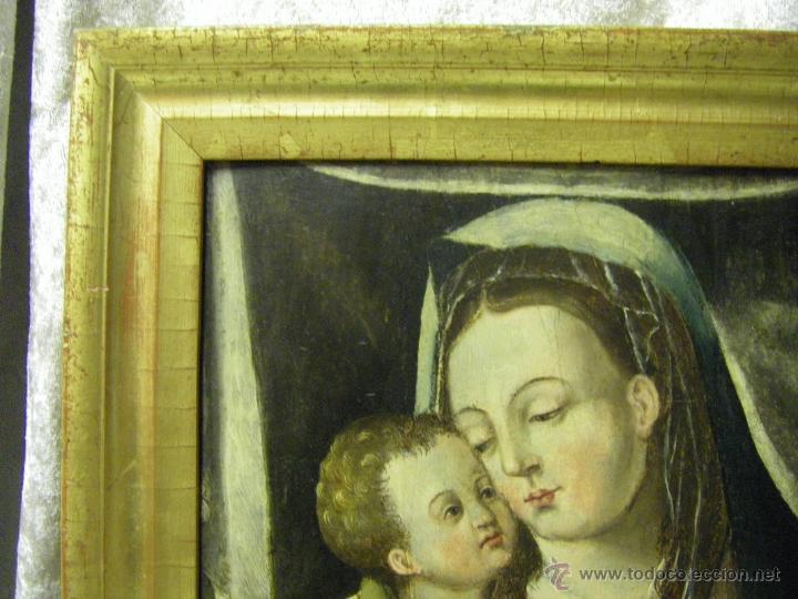 Arte: óleo en tabla Virgen María con el niño Jesús, pintura de campaña siglo XV - XVI - Foto 11 - 52490152