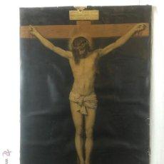Arte: GRANDE Y PRECIOSA LAMINA ENTELADA DE CRISTO EN LA CRUZ . Lote 52517718
