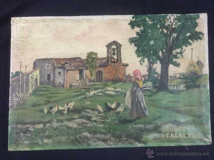 PINTURA AL OLEO DE BRUNET Y CASAS DE 1914 (Arte - Arte Religioso - Pintura Religiosa - Oleo)