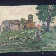 Arte: PINTURA AL OLEO DE BRUNET Y CASAS DE 1914. Lote 52584846