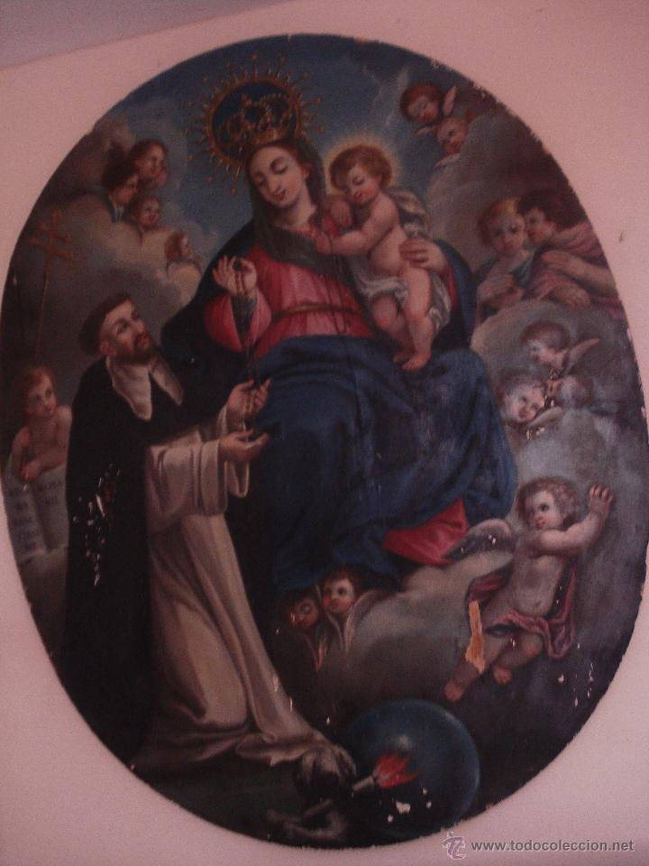 Arte: S.XVIII DIEGO DEL VALLE 1788 EXCEPCIONAL RETABLO DE LA APARICIÓN DE LA VIRGEN DEL ROSARIO - Foto 6 - 52633548