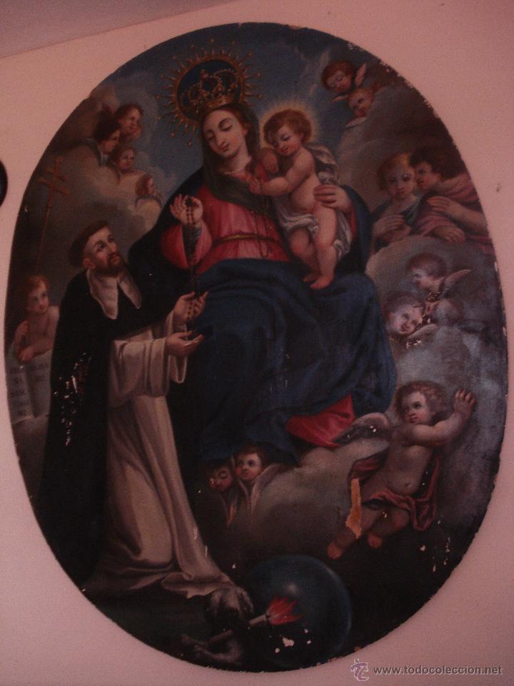 Arte: S.XVIII DIEGO DEL VALLE 1788 EXCEPCIONAL RETABLO DE LA APARICIÓN DE LA VIRGEN DEL ROSARIO - Foto 18 - 52633548