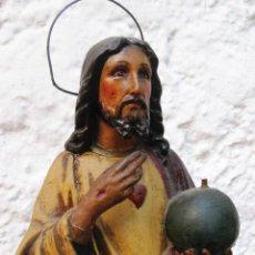 Arte: PRECIOSA ESCULTURA ANTIGUA FIRMADA CRISTO BOLA SAGRADO CORAZON F. . Lote 52672648