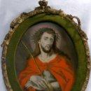 Arte: SIGLO XVIII-XIX.- VARÓN DE DOLORES,- INTERESANTE PINTURA AL OLEO BAJO VIDRIO.. Lote 52825496