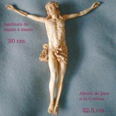 Arte: TALLA EN RESINA IMITACIÓN A MARFIL CRISTO DE CUATRO CLAVOS. FINALES SIGLO XIX.MEDIDAS: 22,5 X 20 CM.. Lote 52870518