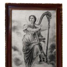 Arte: ANTIGUA SANTA CECILIA , PINTADA A CARBONCILLO, PRECIOSA.MUY GRANDE.. Lote 173932180