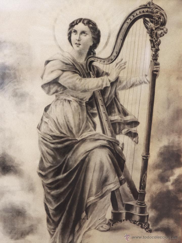 Arte: Antigua Santa Cecilia , pintada a Carboncillo, preciosa.Muy grande. - Foto 2 - 173932180