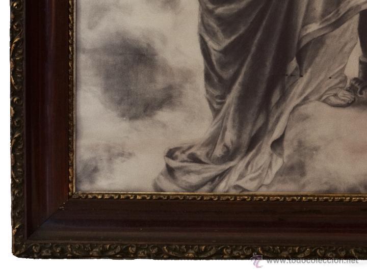 Arte: Antigua Santa Cecilia , pintada a Carboncillo, preciosa.Muy grande. - Foto 4 - 173932180