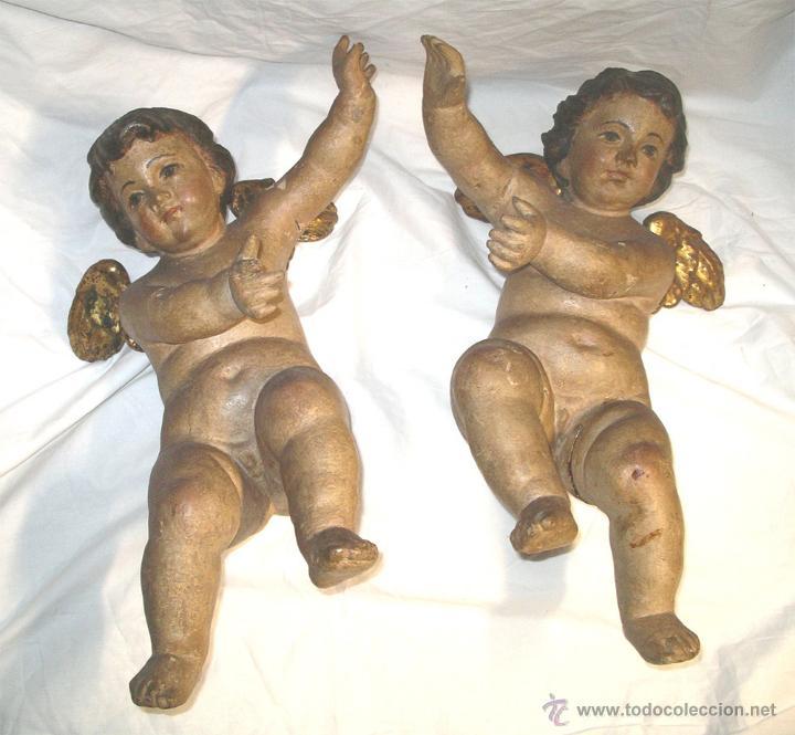PAREJA ANGELES QUERUBIN S XVIII, TALLA MADERA POLICROMADA. MED. 50 CM ALTURA (Arte - Arte Religioso - Escultura)