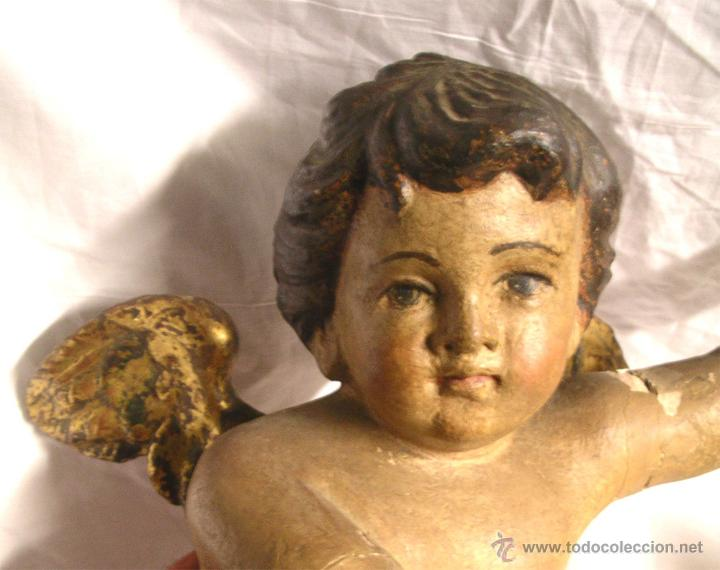 Arte: Pareja Angeles Querubin S XVIII, talla madera policromada. Med. 50 cm altura - Foto 3 - 52937358