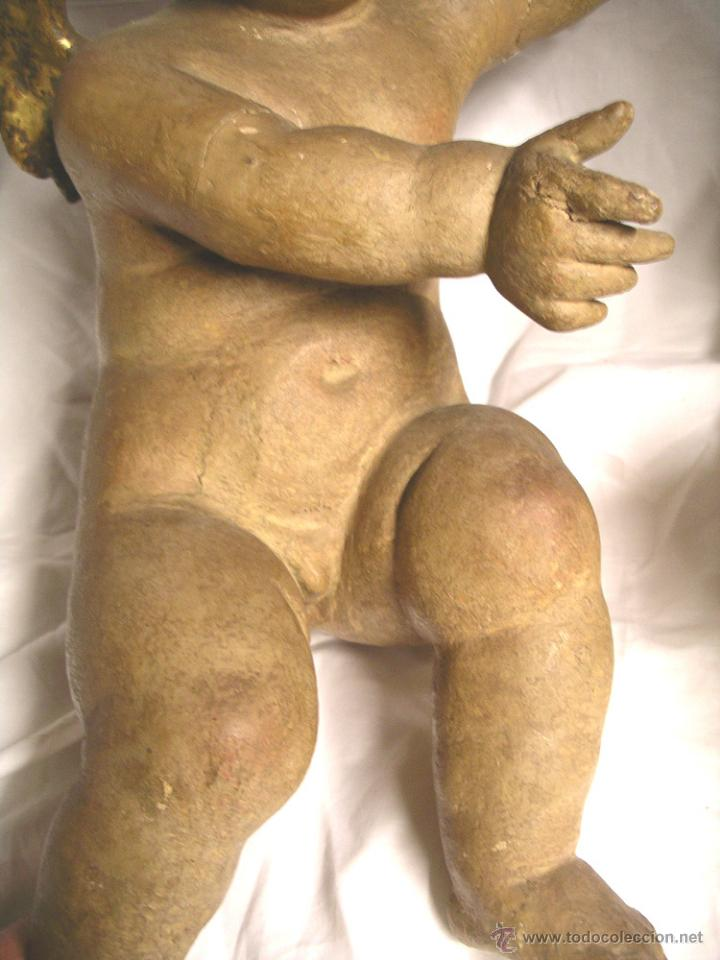 Arte: Pareja Angeles Querubin S XVIII, talla madera policromada. Med. 50 cm altura - Foto 5 - 52937358