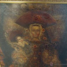 Arte: 86 X 65 CM PRECIOSA PINTURA RELIGIOSA VIRGEN DE LA MERCED NIÑO JESUS GRAN MARCO DORADO. Lote 53058368