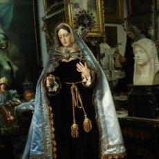 Arte: DOLOROSA CAP I POTA CON INDULGENCIAS, PASAMANERÍAS Y CORONA DE PLATA SXIX. Lote 53108261