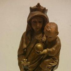 Arte: TALLA DE LA VIRGEN MARÍA Y NIÑO JESÚS SIGLO XVIII. Lote 53130175