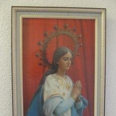 Arte: FOTOGRAFIA ENMARCADA DE LA PATRONA DE MONFORTE DEL CID (ALICANTE). INMACULADA CONCEPCIÓN. 52 X 35 . Lote 53139132