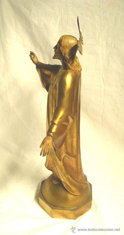 Arte: Sagrado Corazón escuela Olot años 50, policromia oro fino, peana madera. Med 44 cm - Foto 5 - 53149582