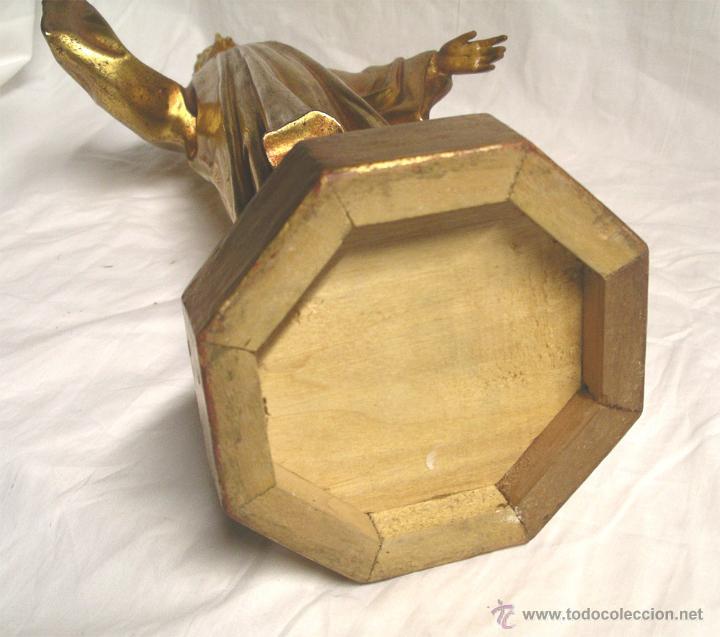 Arte: Sagrado Corazón escuela Olot años 50, policromia oro fino, peana madera. Med 44 cm - Foto 6 - 53149582