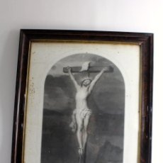 Arte: B-68. LITOGRAFIA RELIGIOSA ENMARCADA. REPRODUCCION CUADRO DE VAN DYCK. SIGLO XIX. BRUXELLES 1848. Lote 53179189