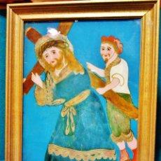 Arte: CRISTO CON LA CRUZ A CUESTAS. PINTURA BAJO CRISTAL, S. XIX. CON MARCO ANTIGUO.. Lote 53229635