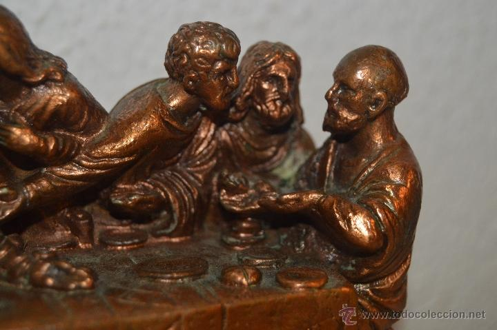 Arte: ANTIGUA TALLA DE LA SANTA CENA EN BRONCE con soporte de marmol pfs - Foto 6 - 53335721