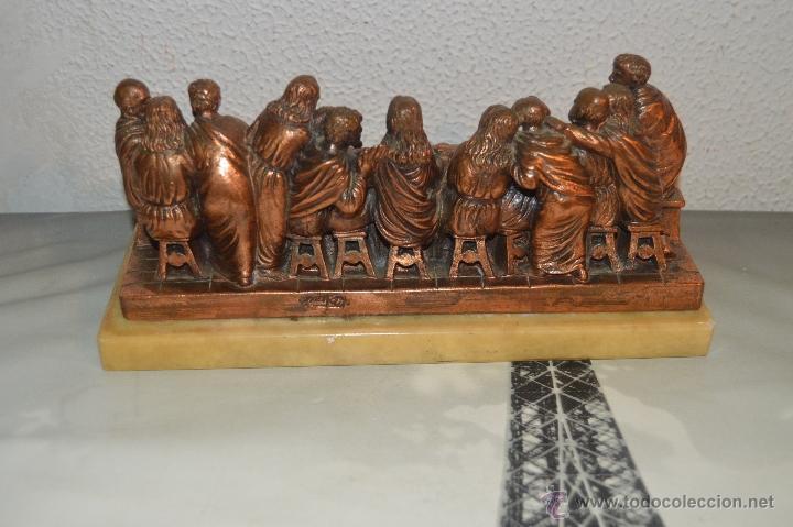 Arte: ANTIGUA TALLA DE LA SANTA CENA EN BRONCE con soporte de marmol pfs - Foto 8 - 53335721