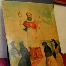 Arte: SAN RAMÓN NONATO, PATRÓN DE LAS PARTURIENTAS. S. XIX CARTÓN DURO. 72 X 53 CM. Lote 53356346