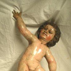 Arte: ANGEL O QUERUBIN S XVIII, TALLA MADERA POLICROMADA. MED. 54 CM ALTURA. Lote 53421731