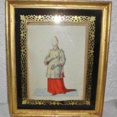 Arte: ANTIGUO GRABADO. S.XIX. CARDINALE DIACONO. MARCO DE MADERA, ESTUCO Y PAN DE ORO.. Lote 53451327