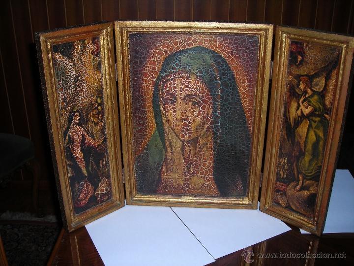 BONITO TRÍPTICO DE LA VIRGEN MARÍA. COMPRADO EN EL AÑO 1975. (Arte - Arte Religioso - Trípticos)