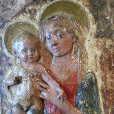 Arte: LA VIRGEN Y EL NIÑO ITALIA,ANTIGUO ESTUCO. Lote 53598932