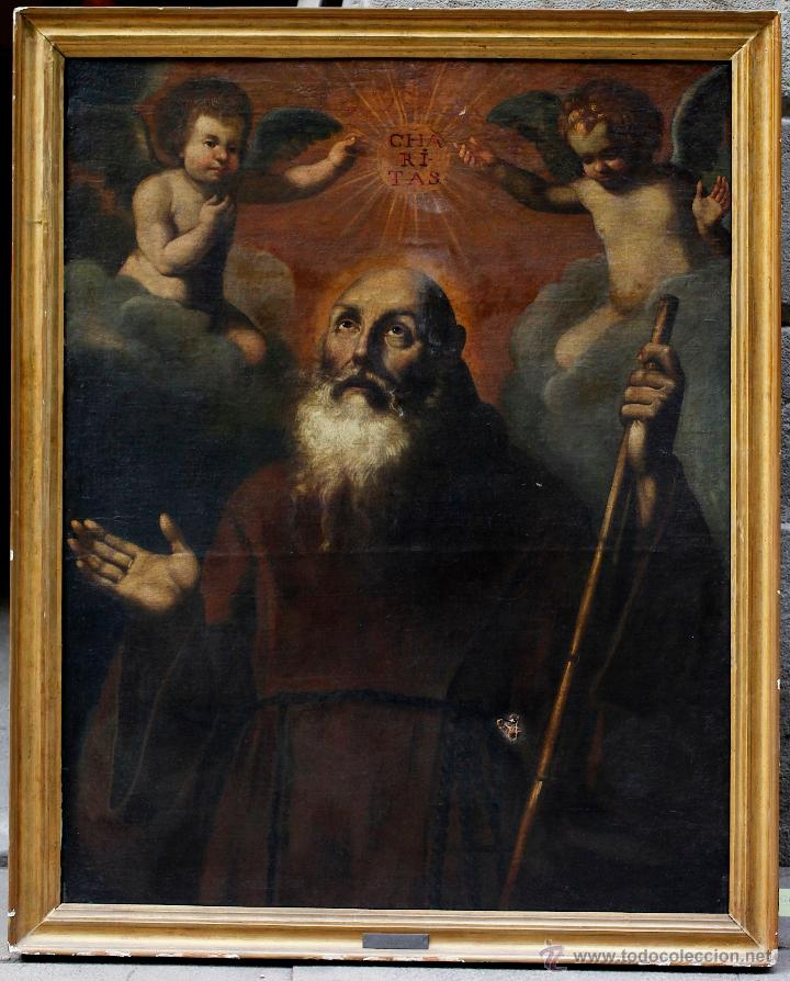 ESCENA CON UN SANTO, S.XVII. PLACA CON EL NOMBRE DE PACHECO, MARCO ANTIGUO: 104X130CM. TELA: 93X118 (Arte - Arte Religioso - Pintura Religiosa - Oleo)