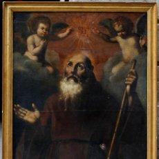 Arte: ESCENA CON UN SANTO, S.XVII. PLACA CON EL NOMBRE DE PACHECO, MARCO ANTIGUO: 104X130CM. TELA: 93X118. Lote 53657009
