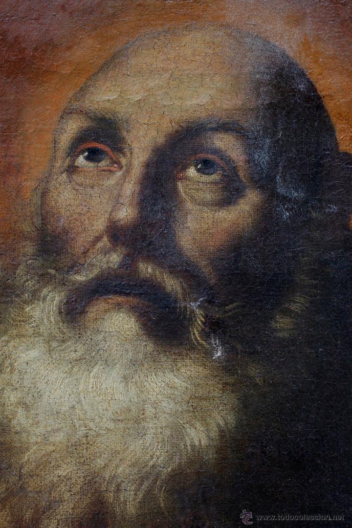 Arte: Escena con un santo, s.XVII. Placa con el nombre de Pacheco, Marco antiguo: 104x130cm. Tela: 93x118 - Foto 4 - 53657009
