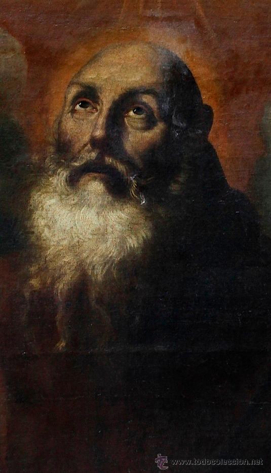 Arte: Escena con un santo, s.XVII. Placa con el nombre de Pacheco, Marco antiguo: 104x130cm. Tela: 93x118 - Foto 5 - 53657009