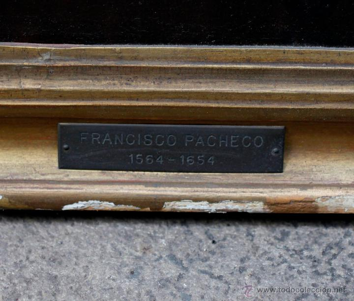 Arte: Escena con un santo, s.XVII. Placa con el nombre de Pacheco, Marco antiguo: 104x130cm. Tela: 93x118 - Foto 6 - 53657009