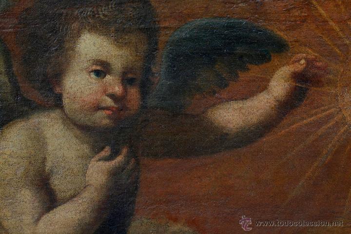 Arte: Escena con un santo, s.XVII. Placa con el nombre de Pacheco, Marco antiguo: 104x130cm. Tela: 93x118 - Foto 7 - 53657009