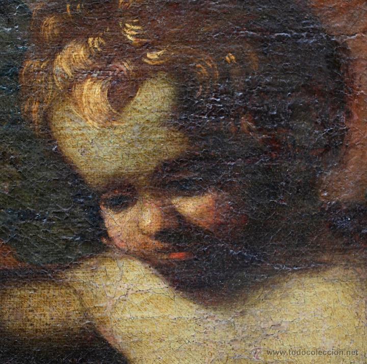 Arte: Escena con un santo, s.XVII. Placa con el nombre de Pacheco, Marco antiguo: 104x130cm. Tela: 93x118 - Foto 8 - 53657009