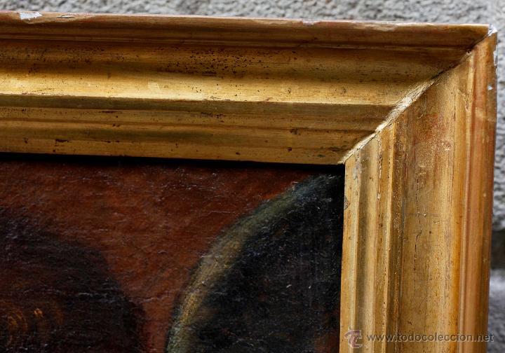 Arte: Escena con un santo, s.XVII. Placa con el nombre de Pacheco, Marco antiguo: 104x130cm. Tela: 93x118 - Foto 9 - 53657009
