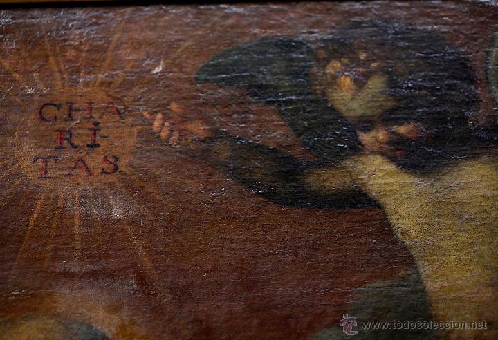 Arte: Escena con un santo, s.XVII. Placa con el nombre de Pacheco, Marco antiguo: 104x130cm. Tela: 93x118 - Foto 11 - 53657009